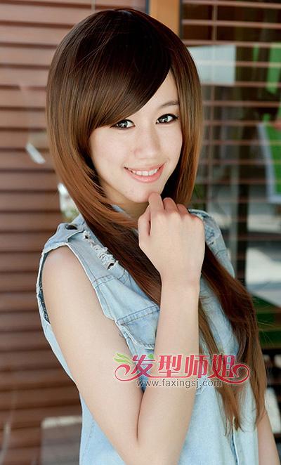 斜刘海蓬松离子烫发型