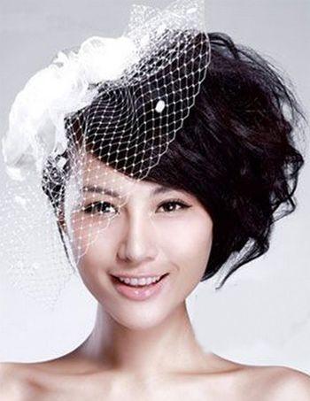 结婚短发盘发发型 圆脸应该的新娘盘发图片(3)