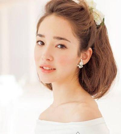 2015流行的短发新娘发型图解 韩式新娘发型特短发(2)