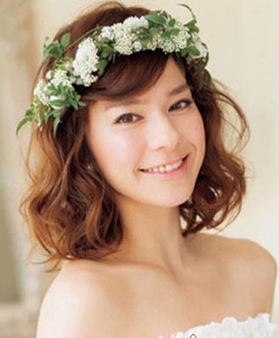 2015流行的短发新娘发型图解 韩式新娘发型特短发(3)