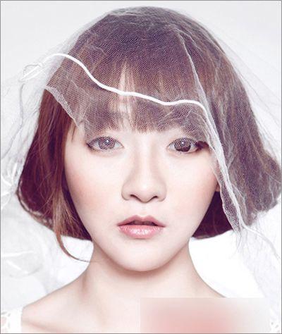 2015流行的短发新娘发型图解 韩式新娘发型特短发(4)