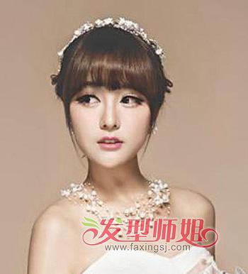 齐刘海新娘发型设计图片教程 齐刘海的长发盘起来的发型(5)