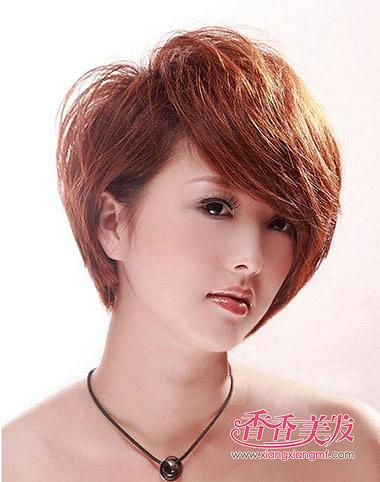 学生沙宣斜刘海蓬松短发发型