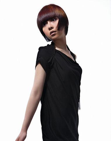 齐刘国内扣沙宣短直发发型图片