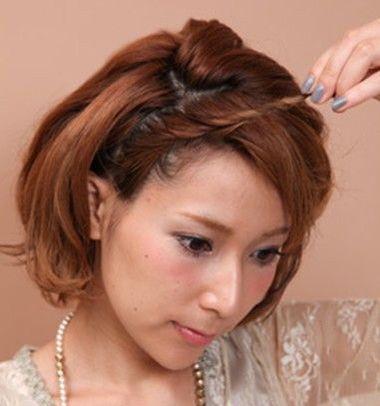 短发的新娘头如何盘 短发新娘盘发图解_发型图片