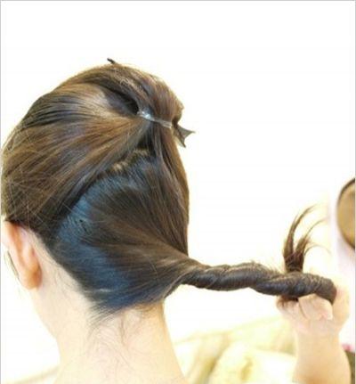 如何盘头发高发髻 中年人高髻盘发图解图片