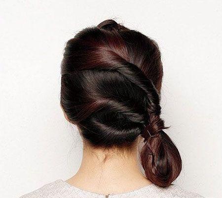 盘发发型中长扎法图解 可爱的盘发发型步骤(2)