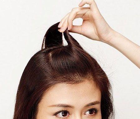 盘发发型中长扎法图解 可爱的盘发发型步骤(4)