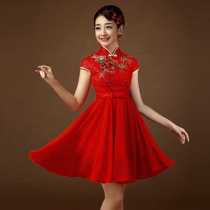 穿旗袍短发如何盘新娘头图片 中短发新娘盘发(2)图片