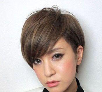 三七分斜刘海短发发型