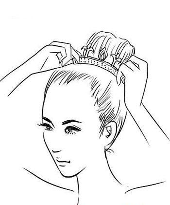 韩式新娘盘头发的步骤 新娘简单高贵头发盘扎图解(3)