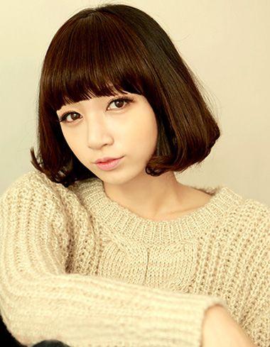 韩国齐刘海短发烫发发型 2016甜美齐刘海短发发型