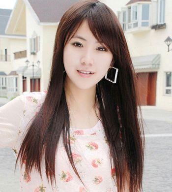 直发斜刘海发型 女人斜刘海直发发型图片
