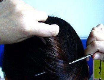 簪子盘头发型步骤图片 2016新发型中发盘法(2)