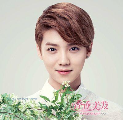 2016男学生斜刘海大偏梳中短发发型