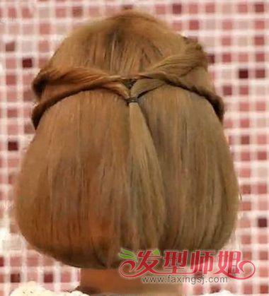 长头发盘短一点的扎法图解 短长发盘头发造型方法(9)