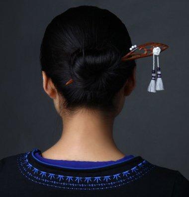 簪子的盘发方法图解中短发直发 中短发直发盘发(4)图片