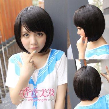 学生沙宣短发斜刘海发型设计图片