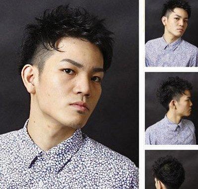 刘海发型设计是比拟短的发型都是向上梳的,两侧的头发超级短几乎铲光