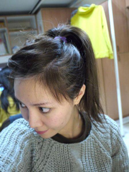 斜刘海学生编发高扎马尾辫发型