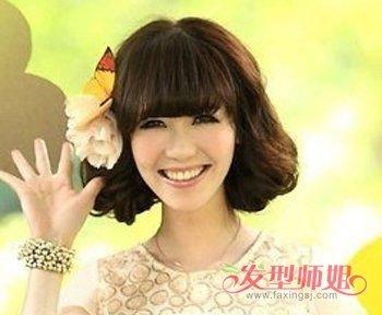 齐刘海清爽短发bobo头发型