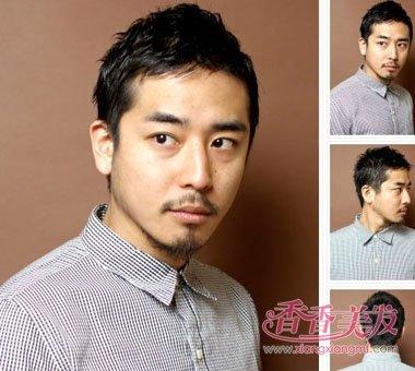 男人两侧头发短侧梳短烫发发型图片