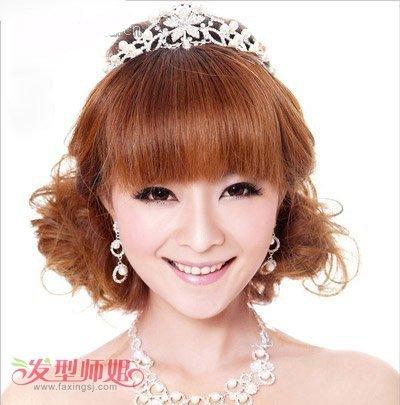 2017最新符合胖脸型的新潮发型 齐刘海胖脸新娘造型(4