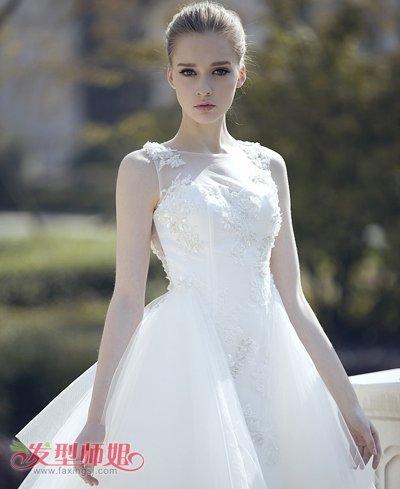 大圆脸新娘盘发图片大全大图 符合大脸盘的新娘造型(3