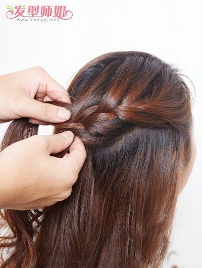 斜边盘发发型步骤图片 最新简易长发盘法