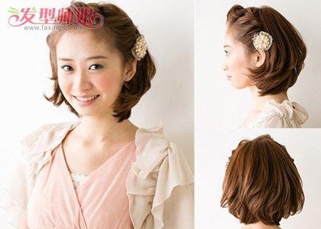 短发编发中,这款新娘头发造型很契合新娘子风格~ 怎样编短头发好看,给