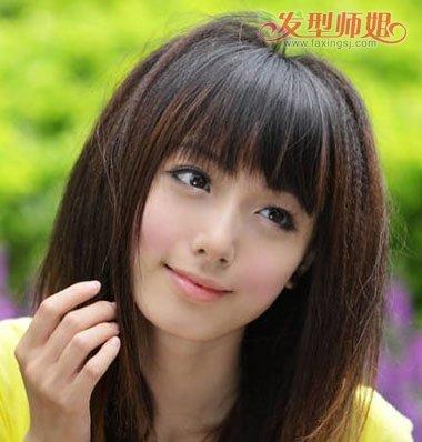 女人黑长发发根烫什么样子 垫发根烫发发型图片图片