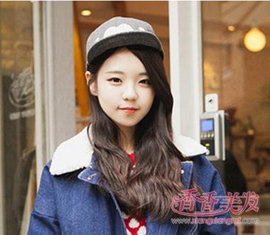 韩国女人长发微卷偏分无刘海发型设计