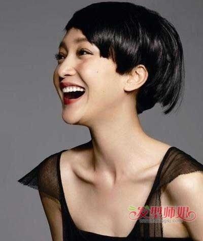 直发发型脖子短图片 90后女人直发短发发型图片
