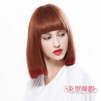 直发发型脖子短图片 90后女人直发短发发型(4)图片