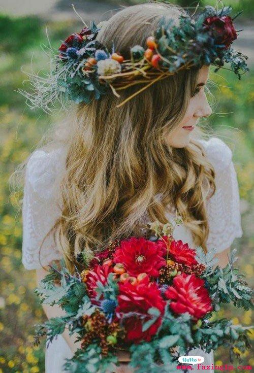 鲜花新娘发型设计,每一款都美得动人心魄图片
