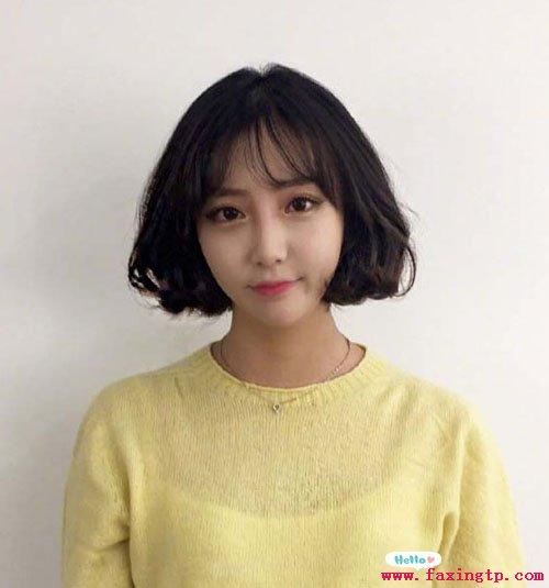 女生短发烫发发型,简单清爽得韩式烫发图片