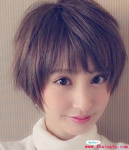 适合气质图片的短发奶茶圆脸潮流时尚感十足女生灰头发发型图片
